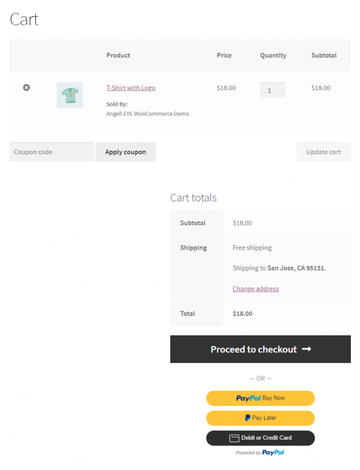 PayPal Smart Buttons on WooCommerce Cart Page