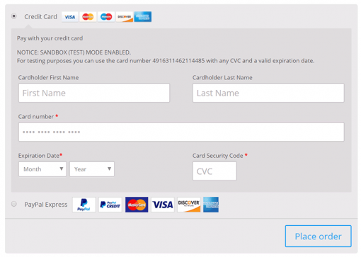 PayPal for WooCommerce Checkout Page Credit Cards