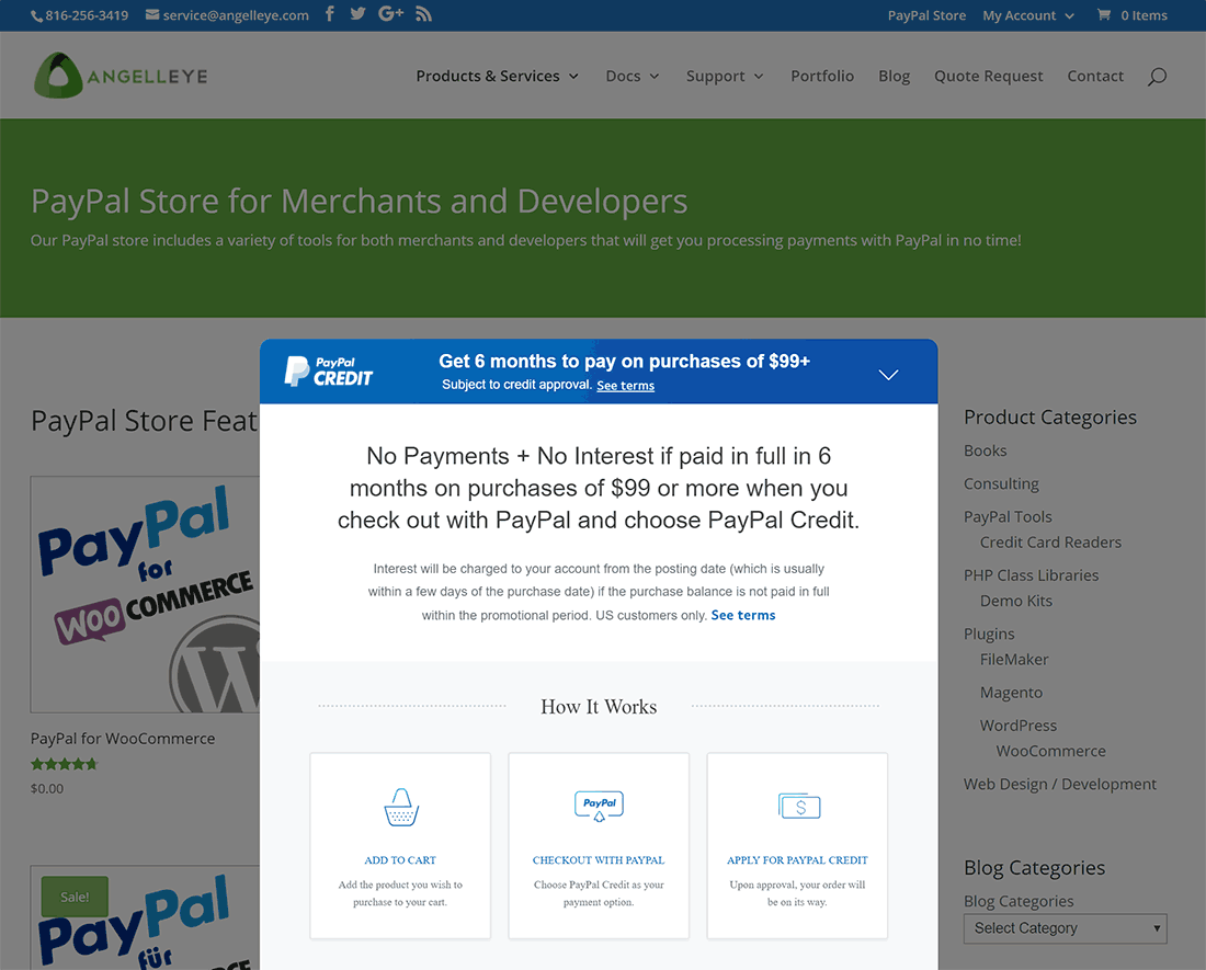 WooCommerce PayPal Marketing Solutions Credit Banner Displayed
