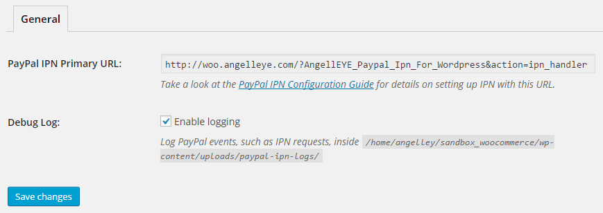 WordPress PayPal IPN General Settings