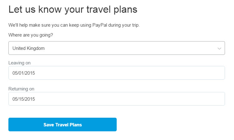 PayPal Travel Plans Form