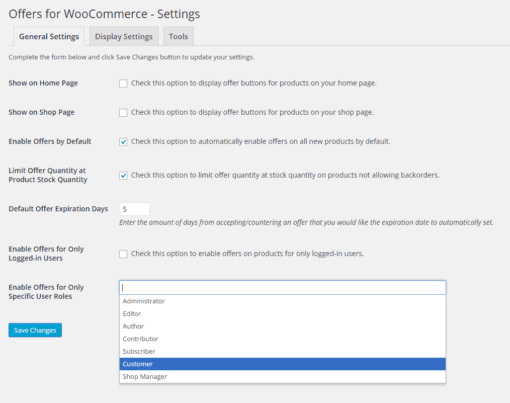 Offers for WooCommerce - General Settings