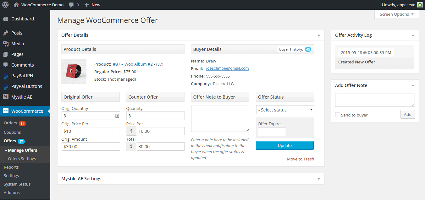 Offers for WooCommerce - Offer Details