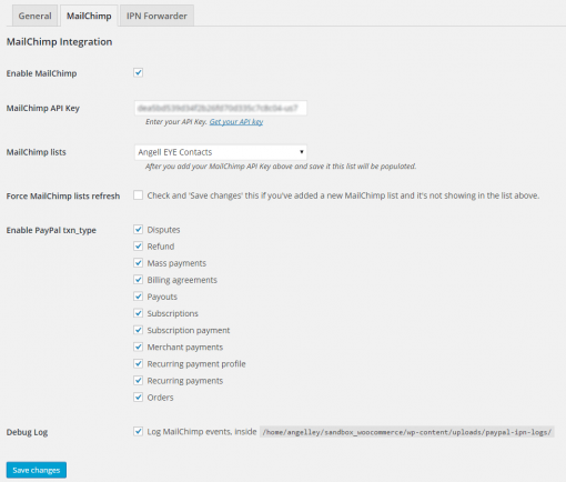 PayPal MailChimp IPN WordPress Settings