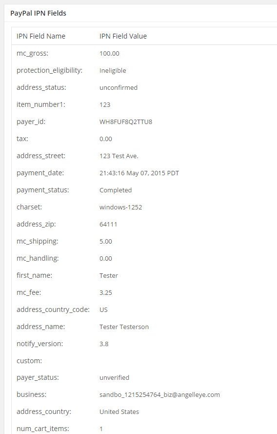 WordPress PayPal IPN Variables