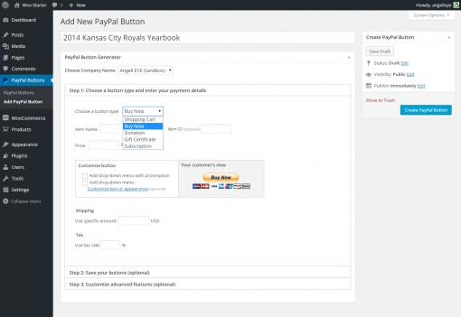 WordPress PayPal Button - Create PayPal Button