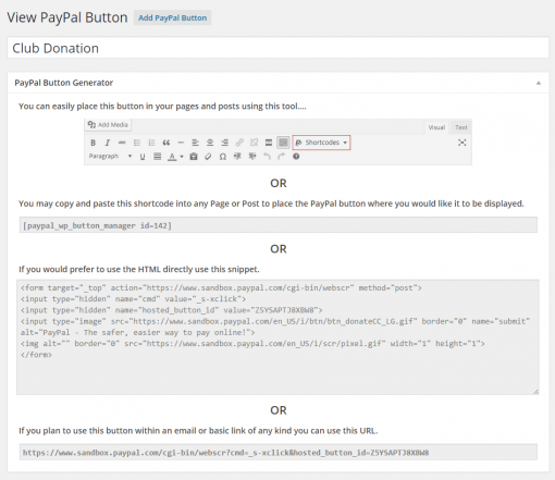WordPress PayPal Button Placement