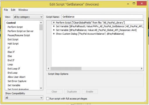 FileMaker PayPal Script Sample