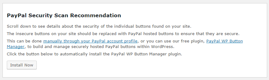 PayPal Security for WordPress Recommendations Report