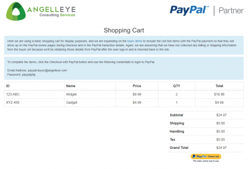PayPal Express Checkout Line Items Shopping Cart