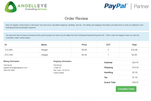 PayPal Express Checkout Line Items Shopping Cart Final Review