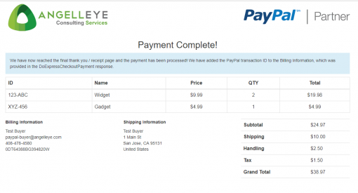 PayPal Express Checkout Line Items Shopping Cart Complete