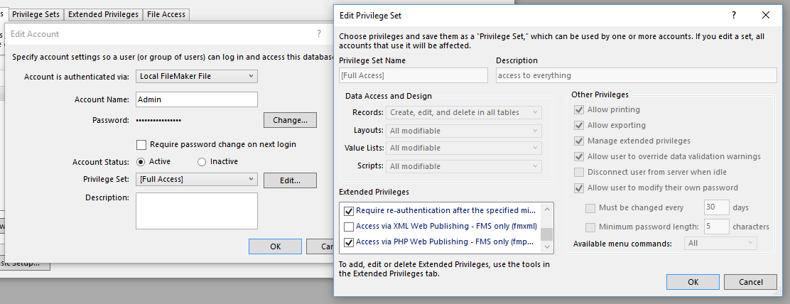 PayPal IPN FileMaker FMPHP Privilege Set