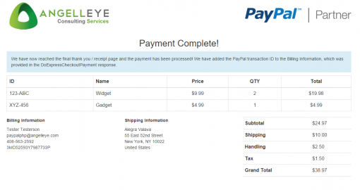 PayPal Express Checkout PHP Receipt Page