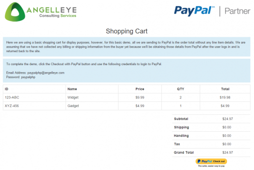 PayPal Express Checkout PHP Demo Shopping Cart
