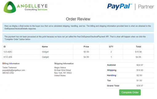 PayPal Express Checkout PHP Site Review
