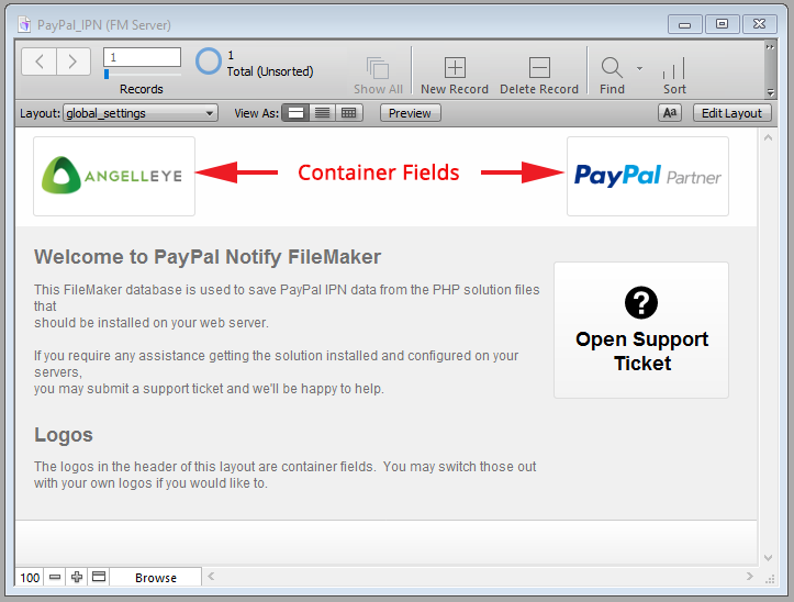 PayPal Notify FileMaker User Guide Global Settings