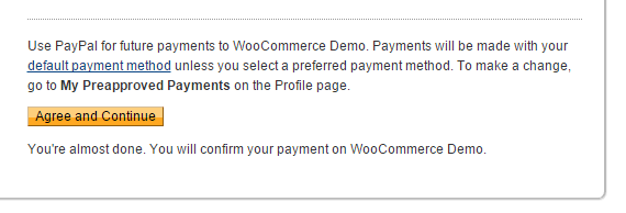 PayPal Express Checkout WooCommerce Billing Agreement