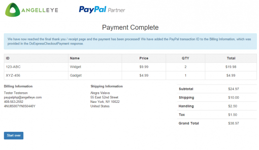 CodeIgniter PayPal Integration Express Checkout Payment Complete