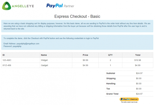 CodeIgniter PayPal Integration Express Checkout Basic Demo