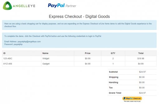 CodeIgniter PayPal Library Express Checkout Digital Goods Demo