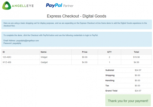 CodeIgniter PayPal Integration Express Checkout Digital Goods Payment Complete