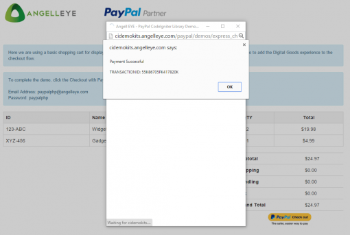 CodeIgniter PayPal Express Checkout Digital Goods Demo