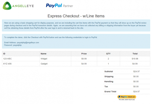 CodeIgniter PayPal Integration Express Checkout Line Items Demo