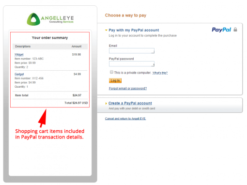CodeIgniter PayPal Library Express Checkout Line Items