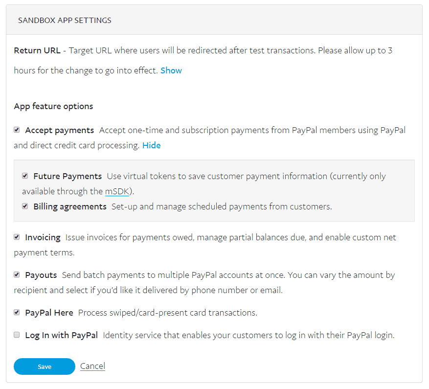 PayPal REST API App Settings