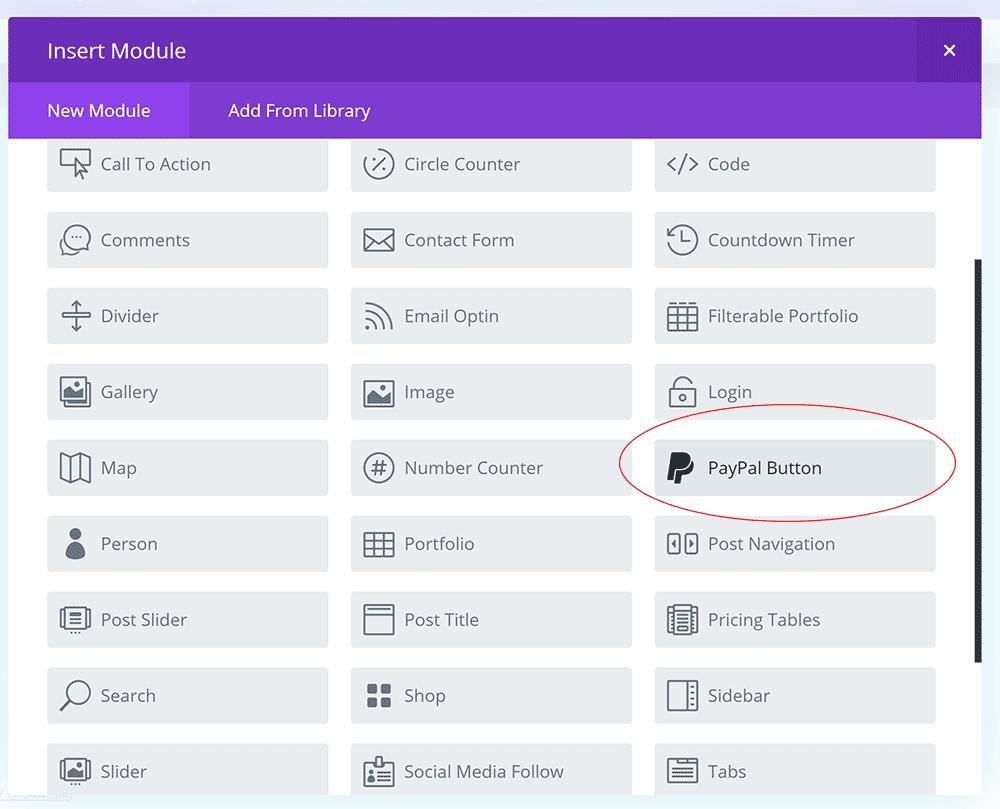 Divi Builder PayPal Button Module