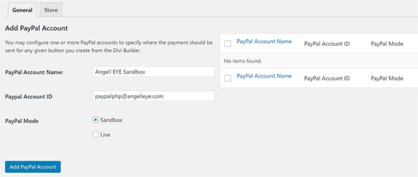Divi PayPal Add PayPal Accounts