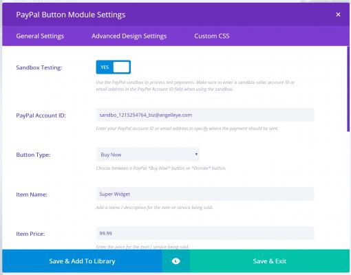Divi PayPal Module Settings