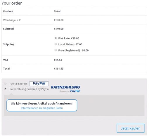 PayPal Ratenzahlung for WooCommerce Checkout