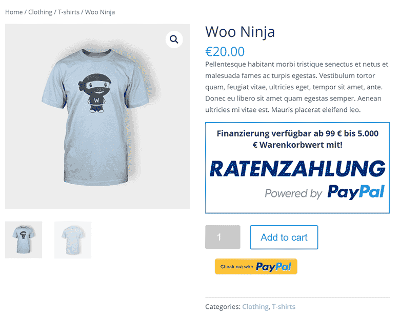 PayPal Ratenzahlung Product Page Upstream Presentment