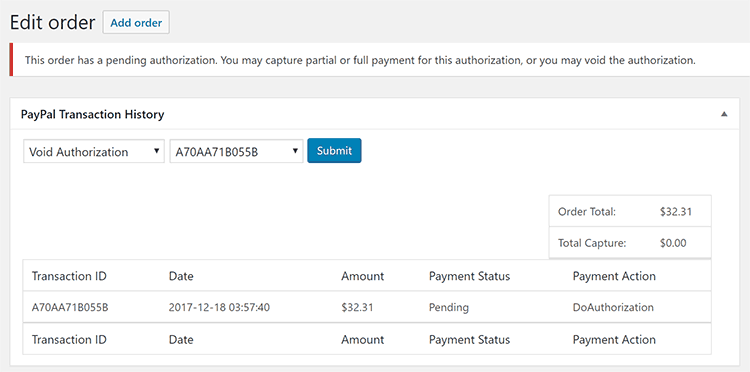 WooCommerce PayPal Authorize and Capture Void