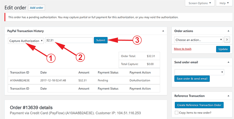 WooCommerce PayPal Authorize and Capture