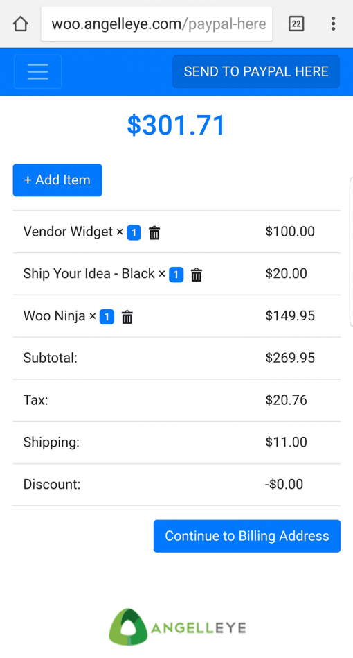 PayPal Here WooCommerce POS Order Cart Screen