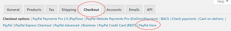 PayPal Here WooCommerce POS Settings Link