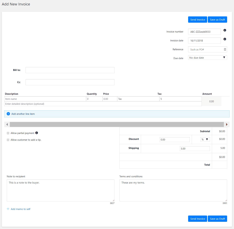 WordPress Create PayPal Invoice