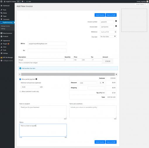 WordPress Create New PayPal Invoice