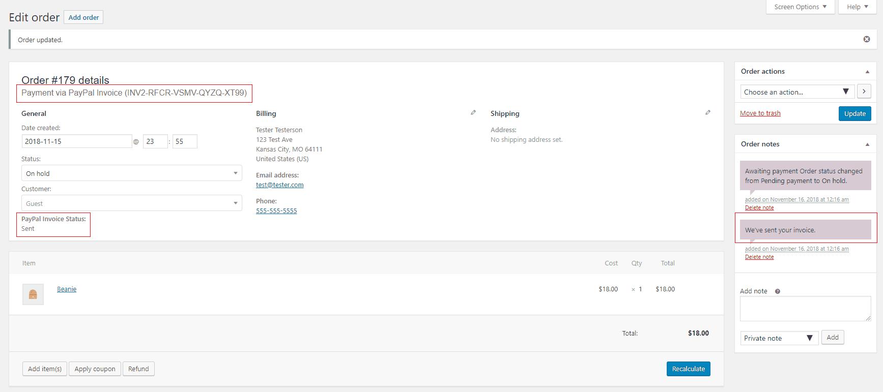WordPress WooCommerce PayPal Invoice Sent