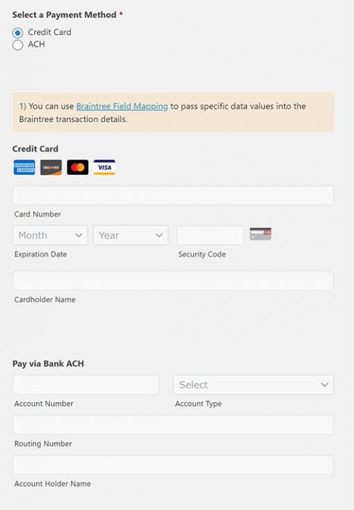 Braintree Payments for Gravity Forms - Credit Cards and Bank ACH Payments