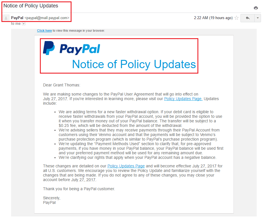 PayPal Policy Updates