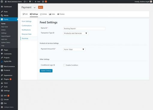 Gravity Forms Braintree Payments Feed Settings