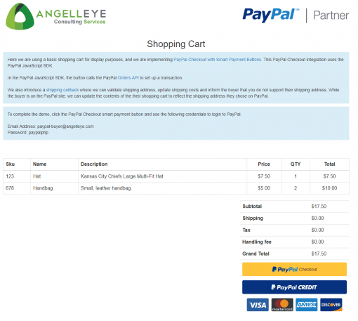 PayPal Checkout PHP REST Orders v2 Demo Kit Shopping Cart