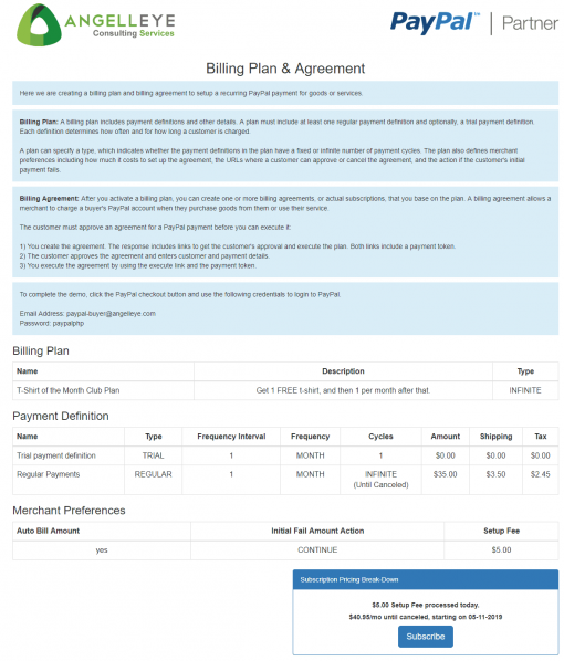 PayPal Checkout REST Billing Plan Agreement Demo Kit Shopping Cart