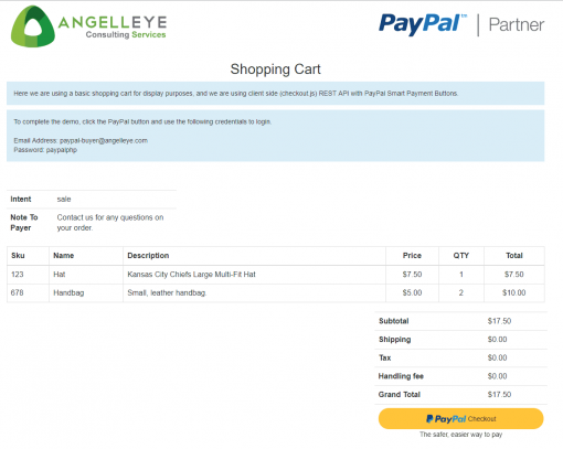 PayPal Checkout PHP REST Payments API v1 Demo Kit Shopping Cart