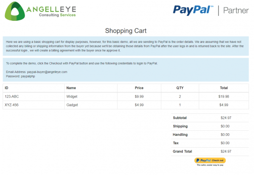 PayPal Express Checkout PHP SDK Billing Agreement Demo Kit Shopping Cart