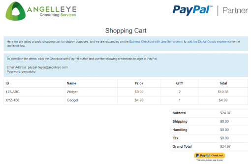 PayPal Express Checkout Digital Goods